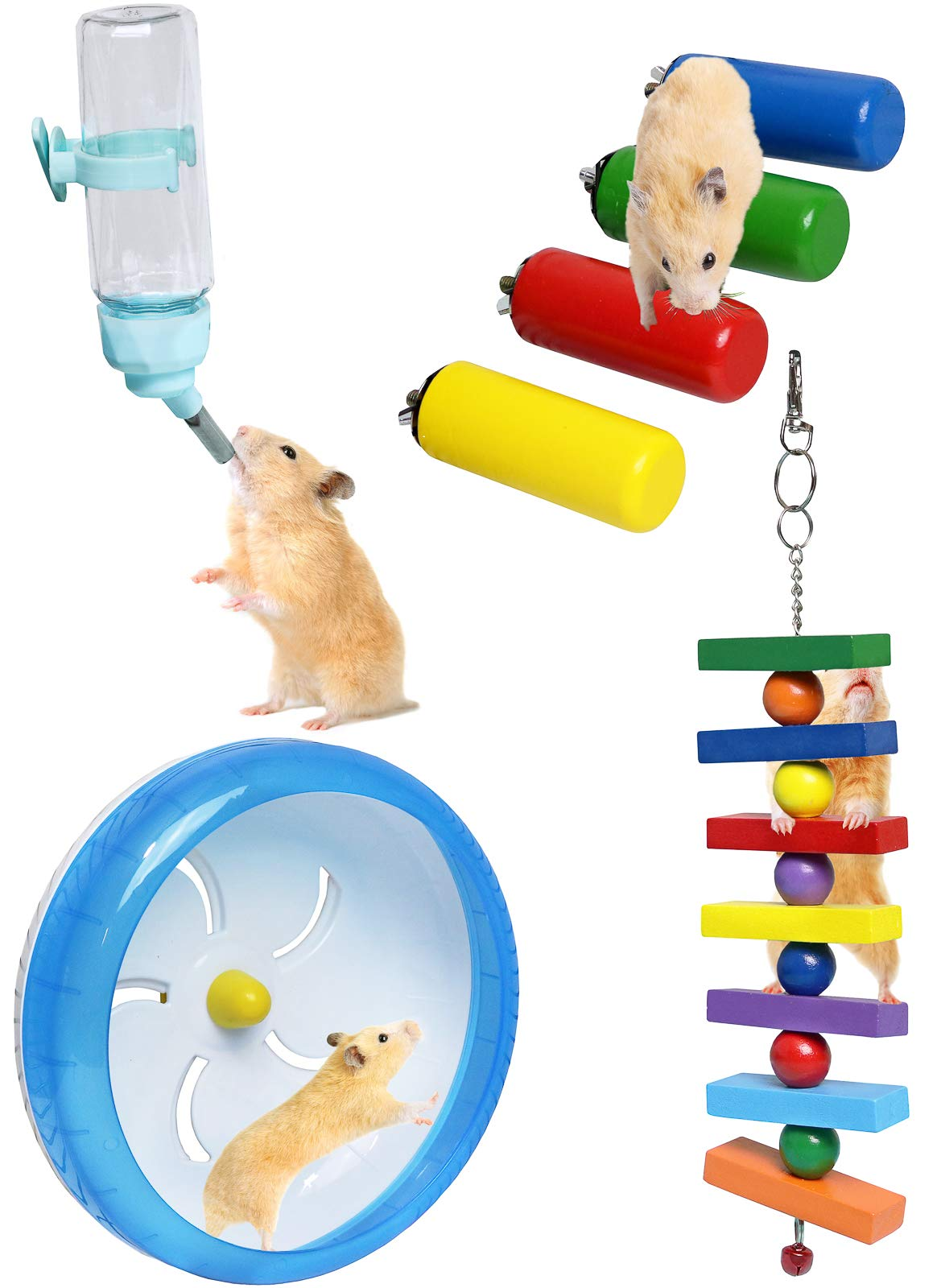 GalaPet Small Animal Hamster Cage Accessories and Toys with Exercise Wheel and Water Bottle by GalaPet