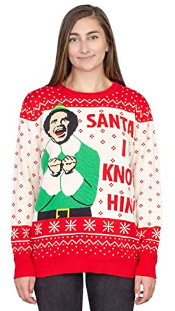 e04f629010 Ripple Junction Elf Buddy Santa I Know Him Pattern Ugly Christmas Sweater  (Adult Small)