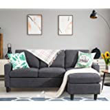 Shintenchi Convertible Sectional Sofa Couch, Modern Linen Fabric L-Shaped Couch 3-Seat Sofa Sectional with Reversible Chaise