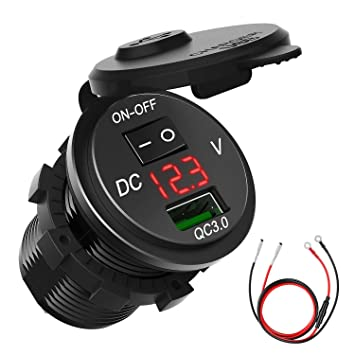 Cargador de Coche Impermeable, 12V/24V Toma USB de Cargador con Quick Charge 3.0, USB Adaptador de Enchufe con ON/Off Interruptor, Pantalla LED ...