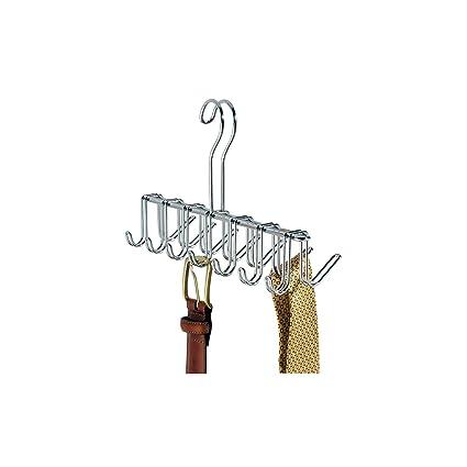 boutique de sortie réputation fiable Royaume-Uni disponibilité iDesign porte cravate à 14 crochets, petit porte ceinture en métal chromé,  cintre rangement pour ceintures et cravates, argenté