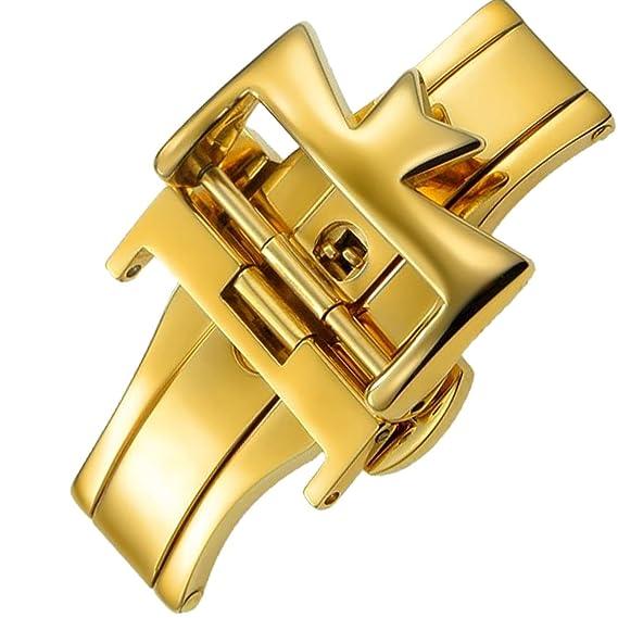 18 mm acero inoxidable dorado cierre desplegable hebilla para Vacheron Constantin