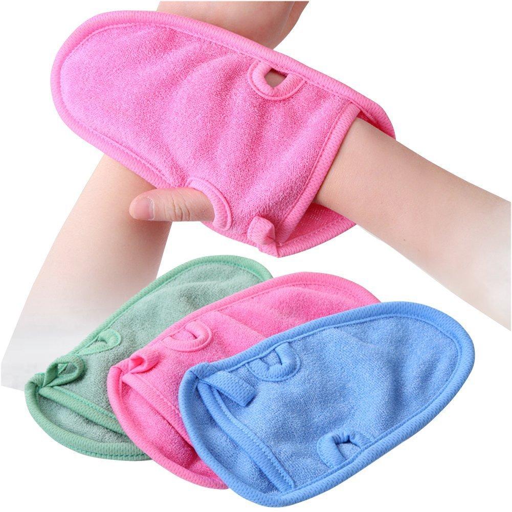 3PCS Bathing Gloves-Unisex Children Adult Shower r Bathroom Skin Face Body Wash Massage Loofah Scrub Spa Mitt(Color Random) Elandy