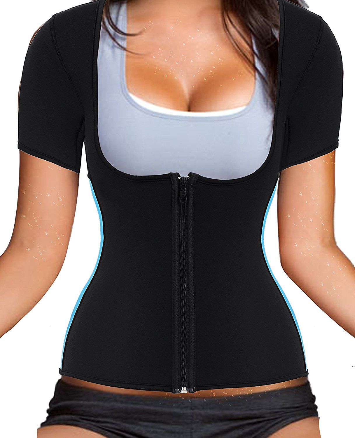 Women's Neoprene Sauna Sweat Waist Trainer Vest with Zipper for Weight Loss Gym Workout Body Shaper Tank Top Shirt