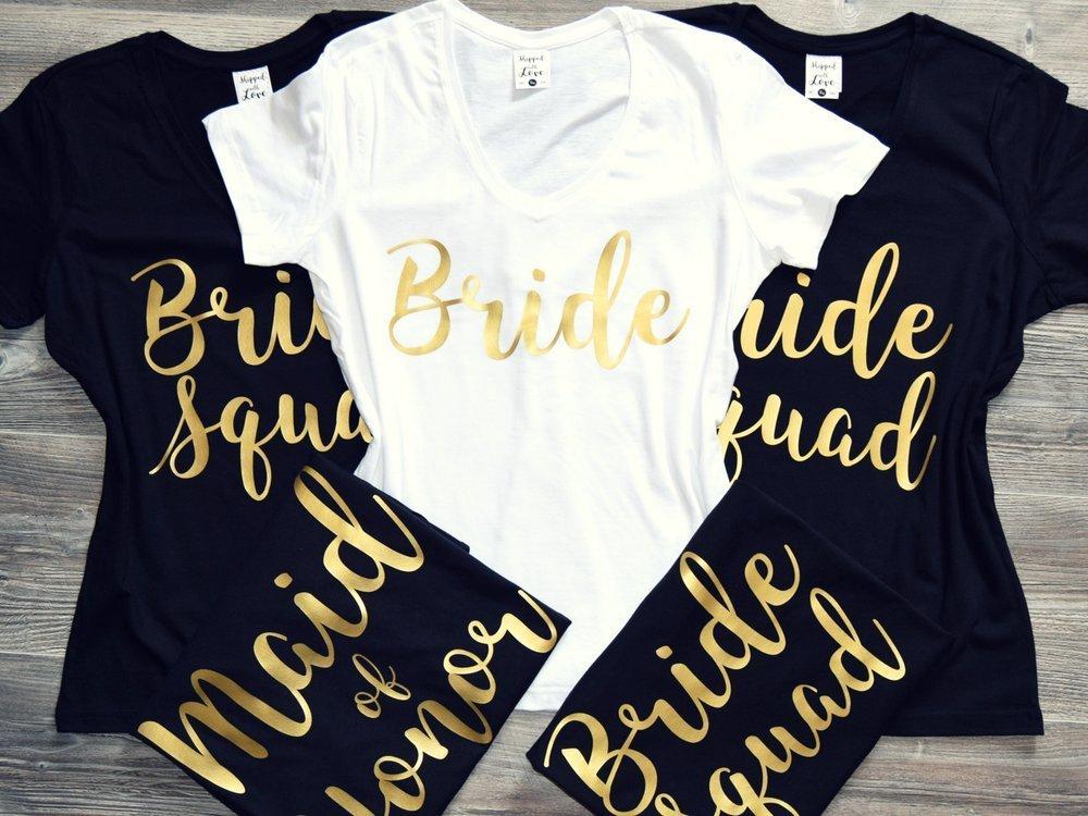 9861e1ee0 Amazon.com: Bridesmaid Tshirt Set (you choose qty); Custom Bachelorette  Shirts, Matching T Shirts, Bride Squad, Wedding Tees Bridal, Bachelorette  Party: ...