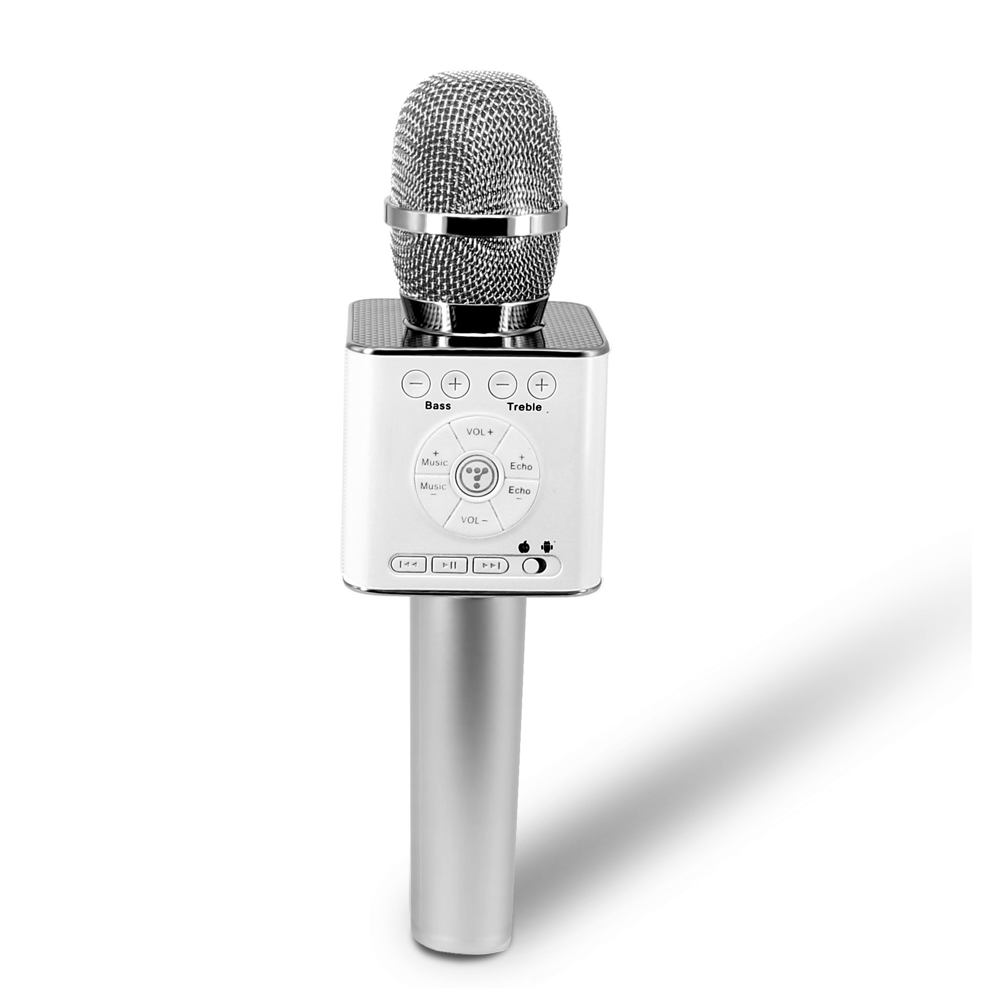 TOSING 04 Portable Wireless Karaoke Microphone Bluetooth Speaker 3-in-1 KTV Player for iOS/Android Smartphone/Tablet Handheld Singing & Recording (Sliver)