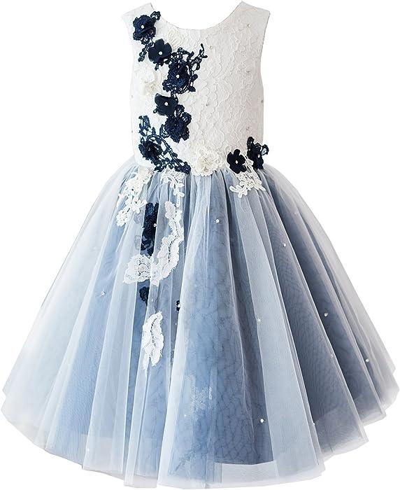 b5daa68192b Miama Ivory Lace Silver Grey Tulle Wedding Flower Girl Dress Junior  Bridesmaid Dress
