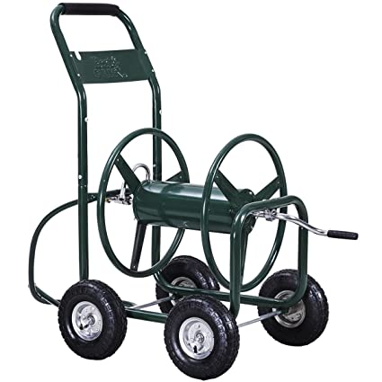 giantex garden hose reel cart 4 wheel lawn watering outdoor heavy duty yard water planting - Garden Hose Reel Cart