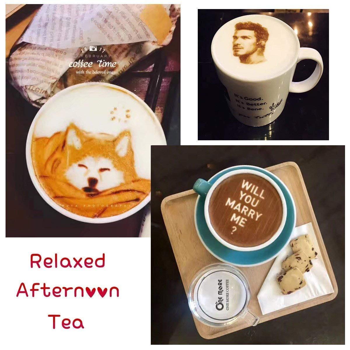 Impresora Mokka 3D Coffee, 2018 Upgrade 4 Tazas Latte Cake Selfie Impresora Artística Full Tinta Comestible automática Printe (Blanco): Amazon.es: Hogar