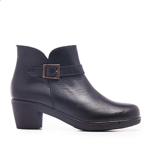 Castellanísimos Botines con Tacón de Piel Negro Mujer: Amazon.es: Zapatos y complementos