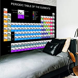 Riyidecor Periodic Table of The Elements Tapestry Education School Student Family Chemistry Science Lover Black Tapestries 60X80 Inch Wall Hanging Dorm Living Room Bedroom Decor Art Home Decoration