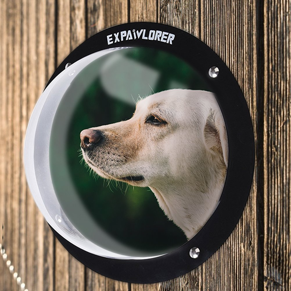 EXPAWLORER Dog Fence Window for Pet - Durable Acrylic Dog Dome for Backyard Fence, Dog House, Reduced Barking, Necessary Hardware and Instructions Included by EXPAWLORER