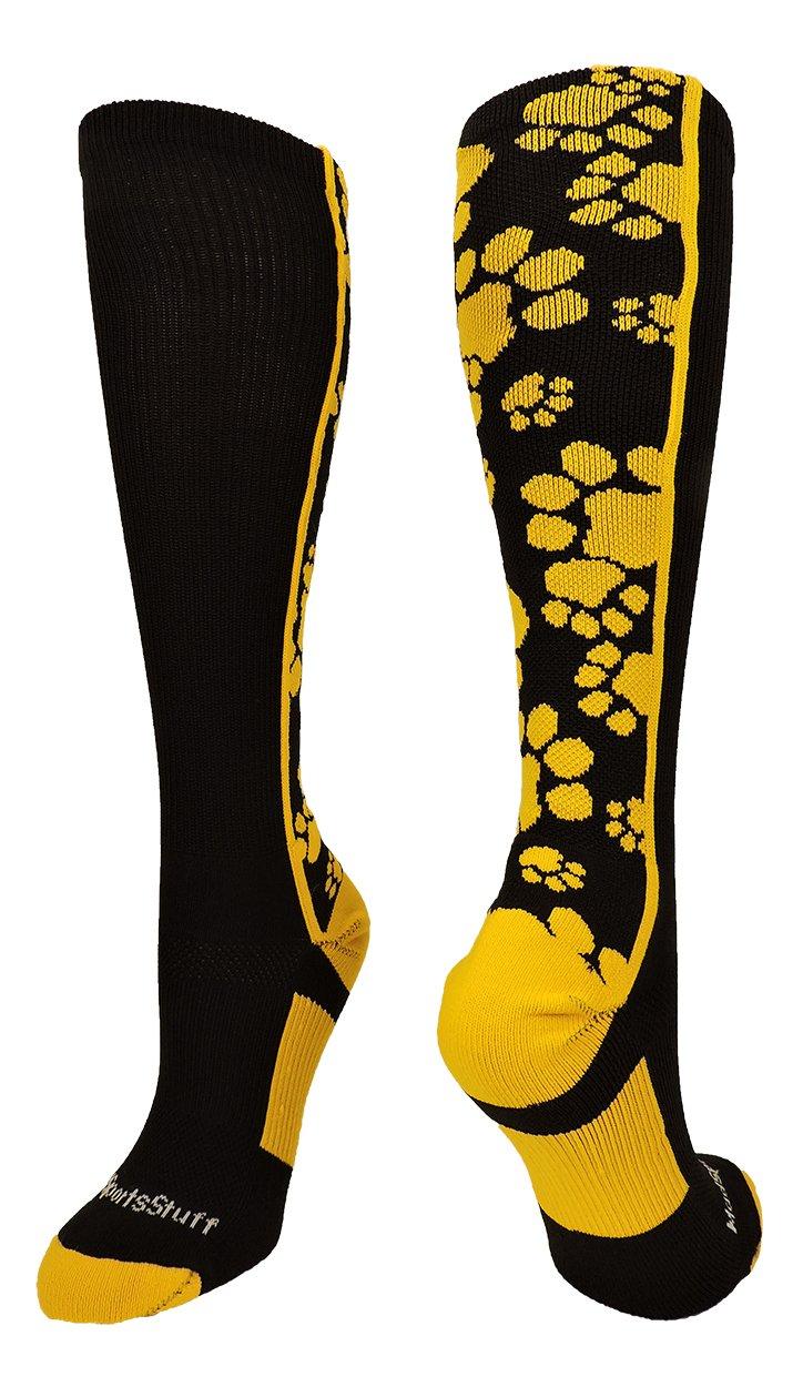 MadSportsStuff 靴下 クレイジー 動物の足跡の柄 ふくらはぎ丈 複数の色 B07477CM6W Small ブラック/ゴールド ブラック/ゴールド Small