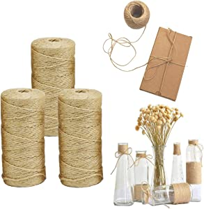 Jute Twine 3 PcsX328 Feet 2mm 3Ply Natural Jute Twine,Natural Jute Rope String for Art&Crafts, Juke Twine, Gift Wrapping, Garden Twine and Wedding Decor