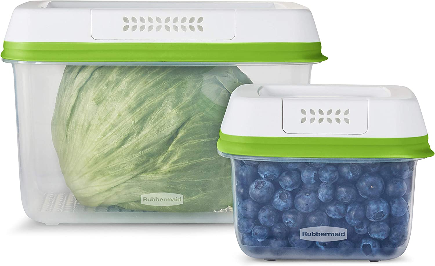 Rubbermaid FreshWorks Saver, Medium and Large Produce Storage Containers, 4-Piece Set, Clear
