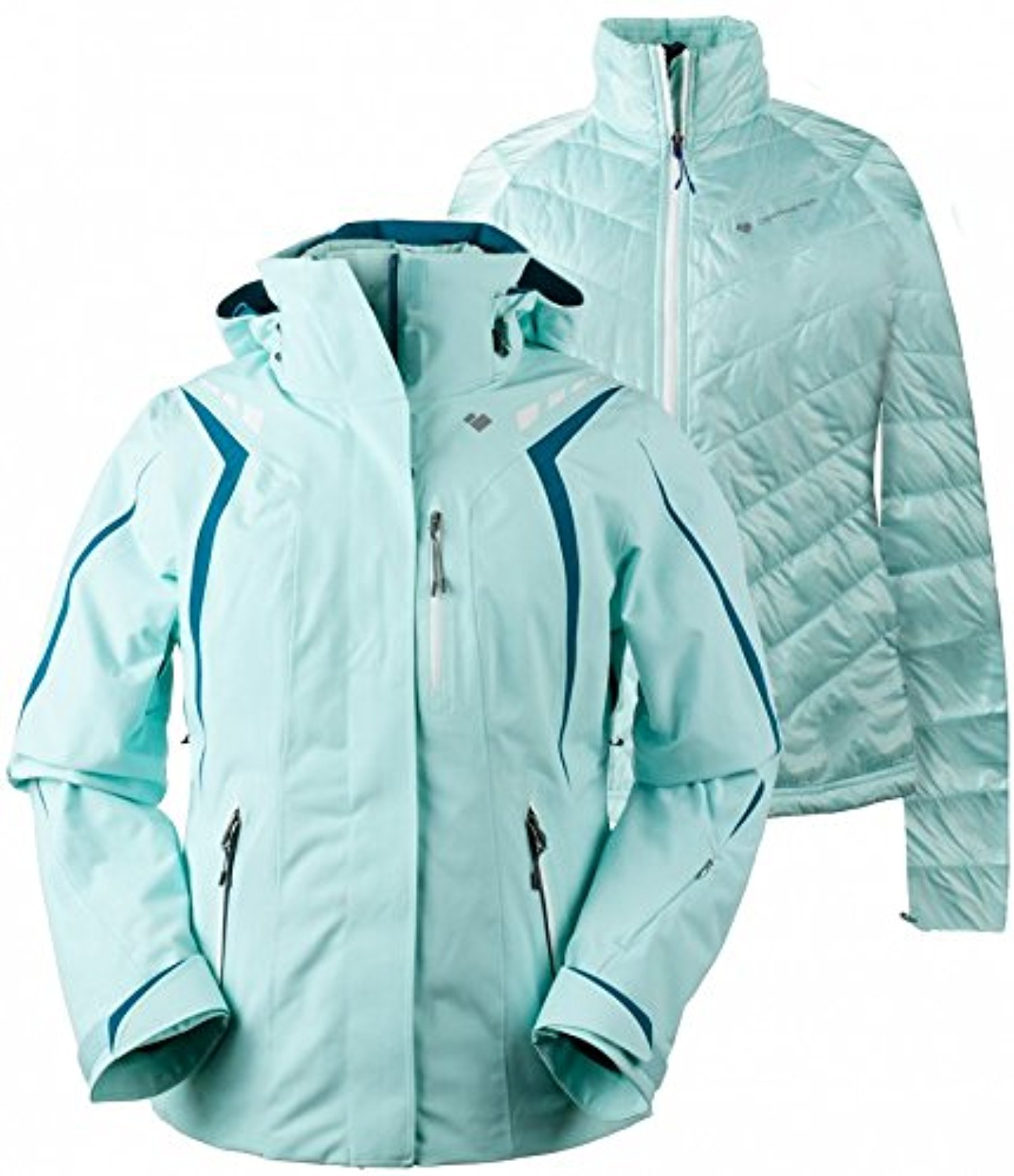 Obermeyer Women's Juno System Jacket Sea Glass 2 & E-tip Glove Bundle