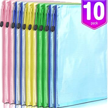 10//pack Durable Zipper Filing Envelopes MILEKE Waterproof A4 File Holders Confidential Document Bags
