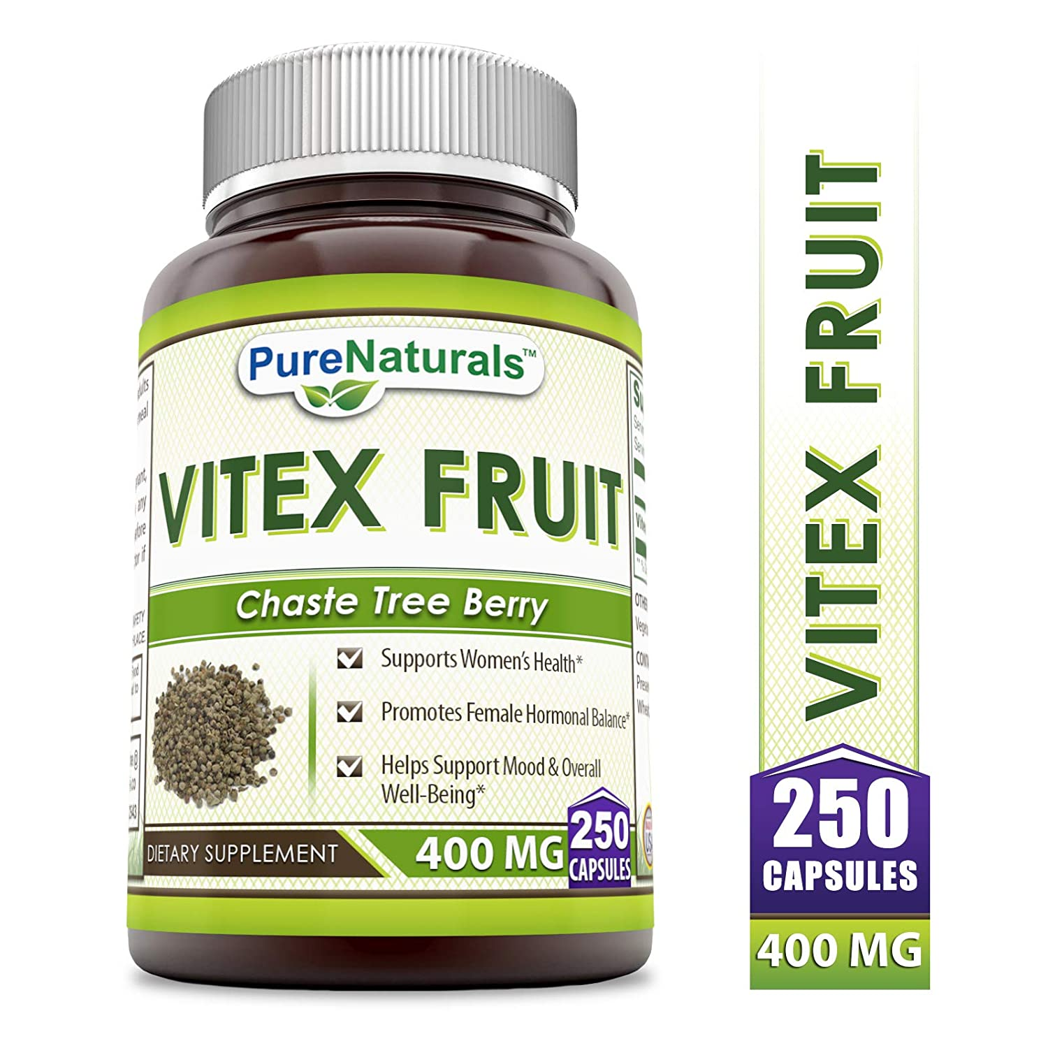Pure Naturals Vitex Fruit 400 Mg 250 Capsules -Supports Women s Health* -Promotes Female Hormonal Balance* -Helps Support Mood Overall Well-Being