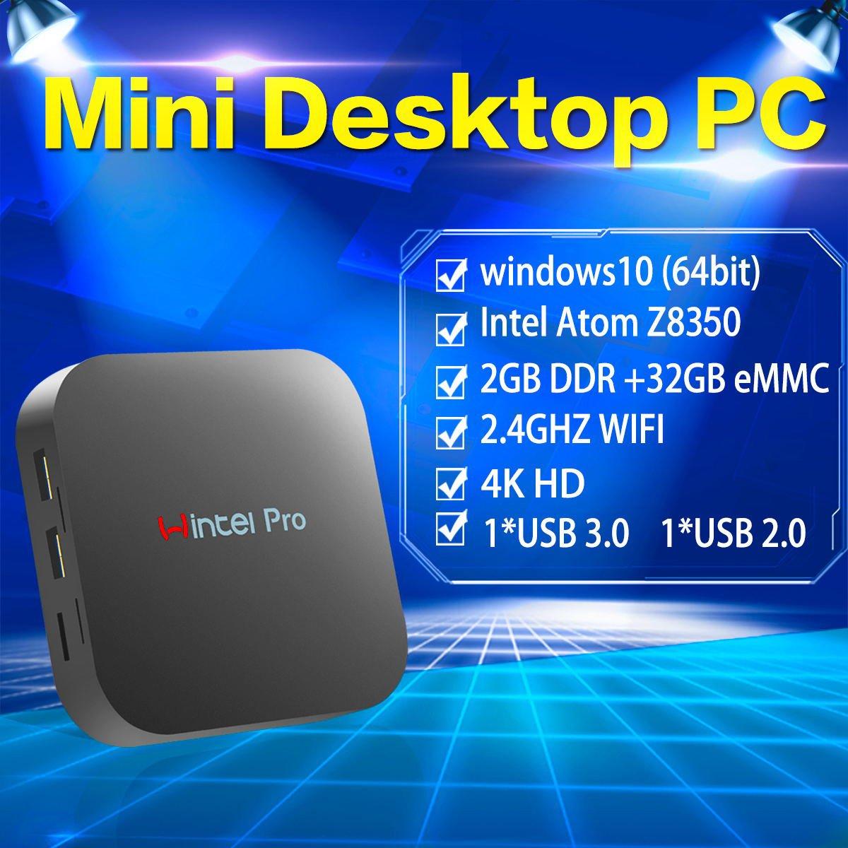 Mini PC,Wintel Pro Intel Cherry Trail Fanless Desktop Computer Windows 10  Home (64-bit) [Intel X5-Z8350/2GB/32GB/4K/Wi-Fi/Bluetooth]