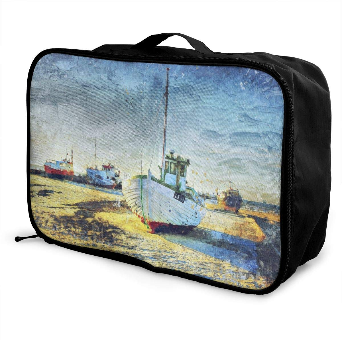 Fishing Boat A Ship Blue Oil Painting Travel Lightweight Waterproof Foldable Storage Carry Luggage Large Capacity Portable Luggage Bag Duffel Bag