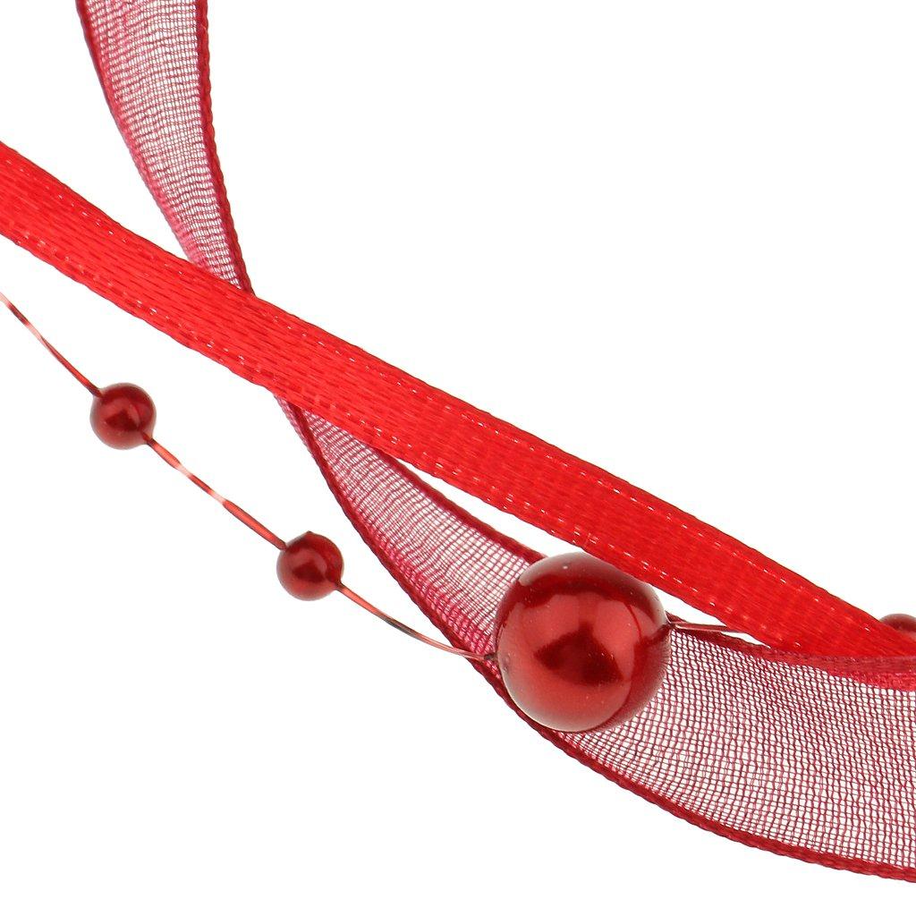 B Baosity 10 Meter Organzaband Perlenband Dekoband Geschenkband Schleifenband Perlengirlande Perlenkette Burgund