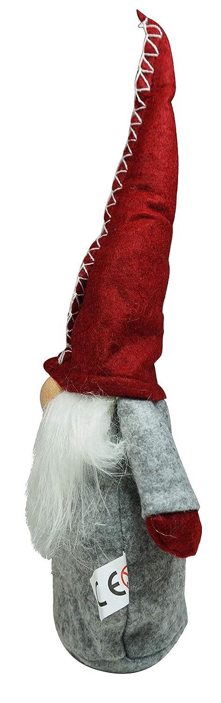 Gnome-figures felt dwarf Christmas deco set of 2 red grey XMAS christmas-gnomes ornament