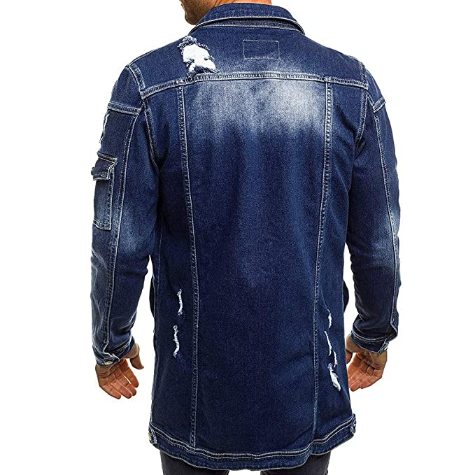 iYBUIA Mens Autumn Winter Casual Vintage Wash Distressed ...