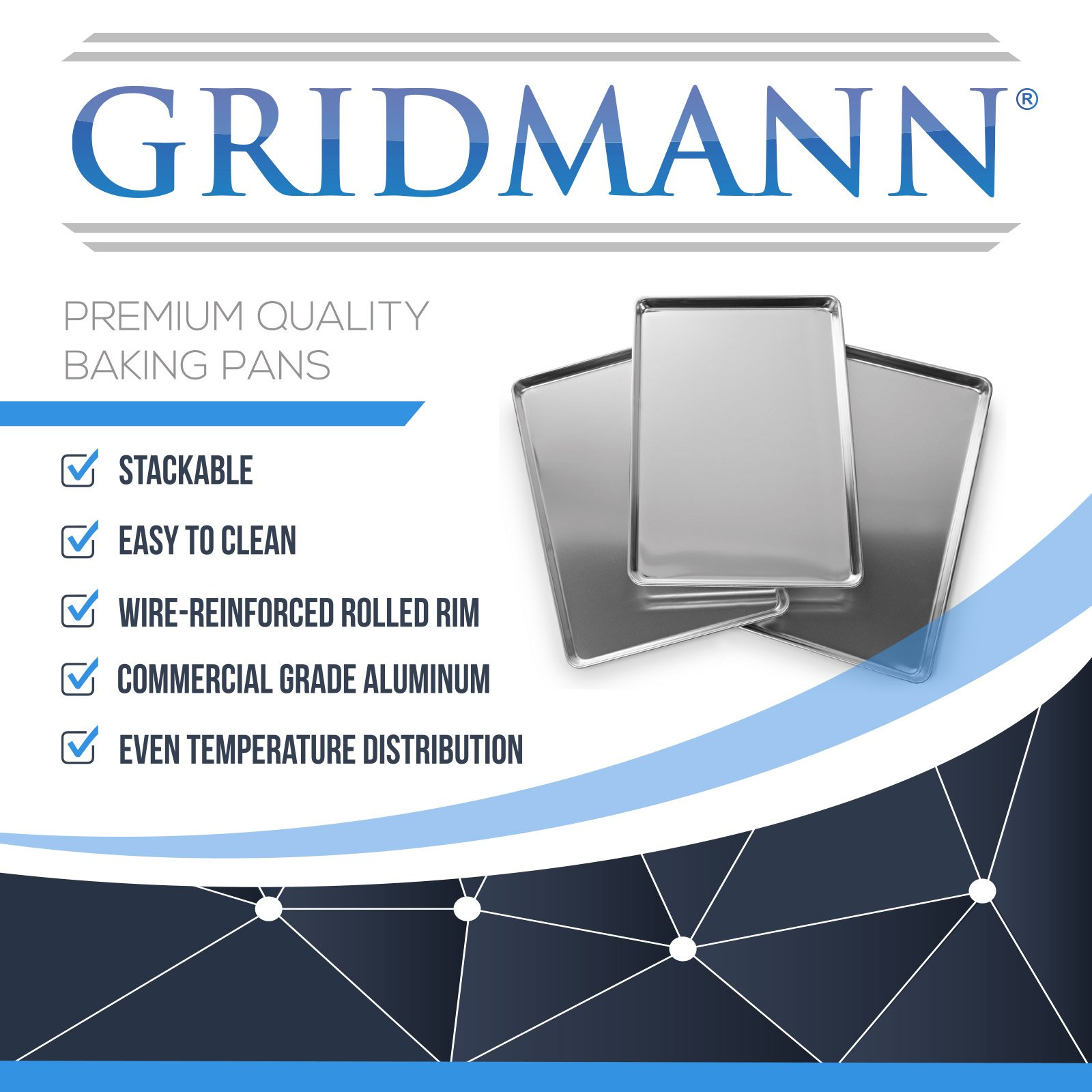Gridmann 18 x 26 Commercial Grade Aluminium Cookie Sheet Baking Tray Pan Full Sheet - 12 Pans by Gridmann (Image #8)