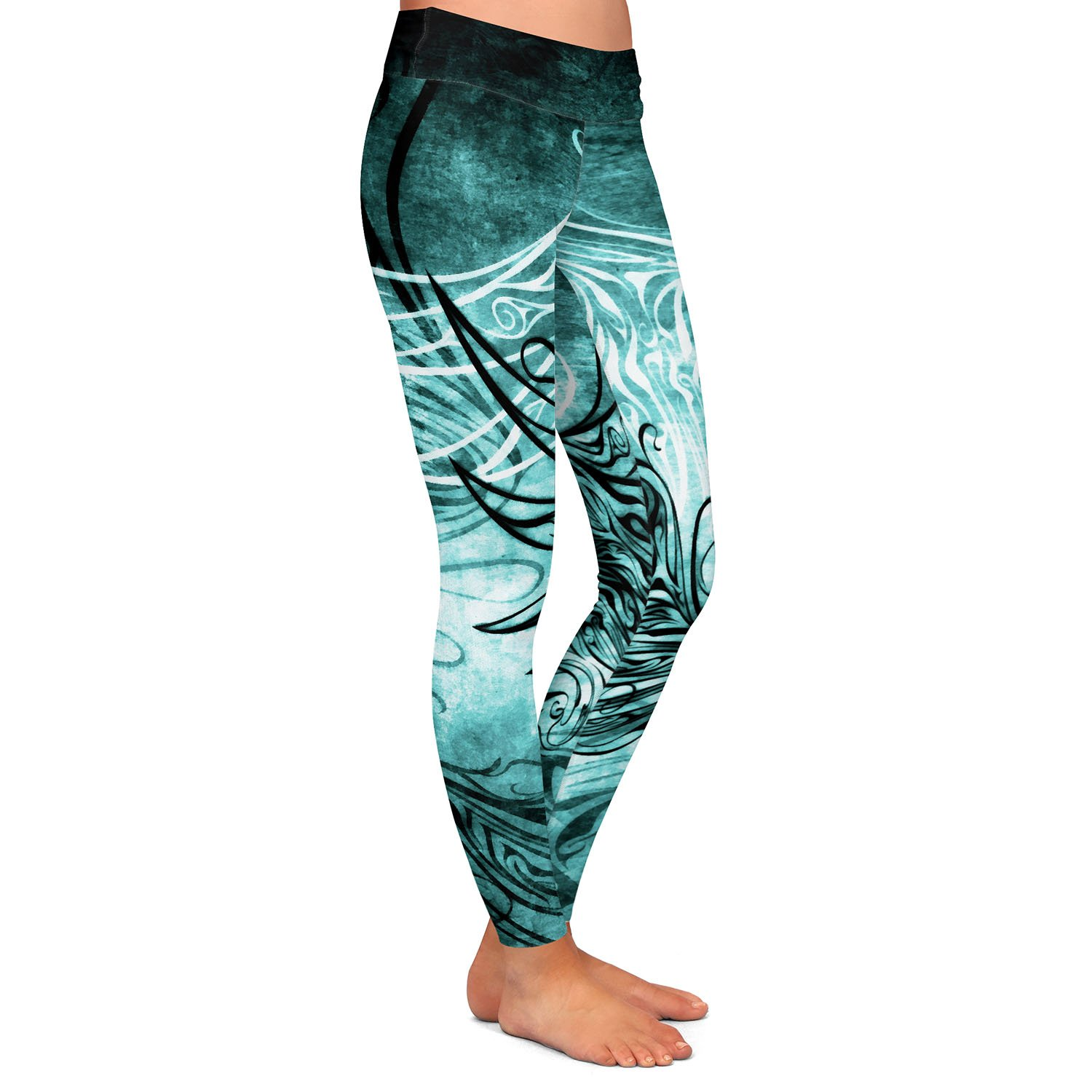 Bird Gothic Aqua Athletic Yoga Leggings from DiaNoche Designs by Angelina Vick