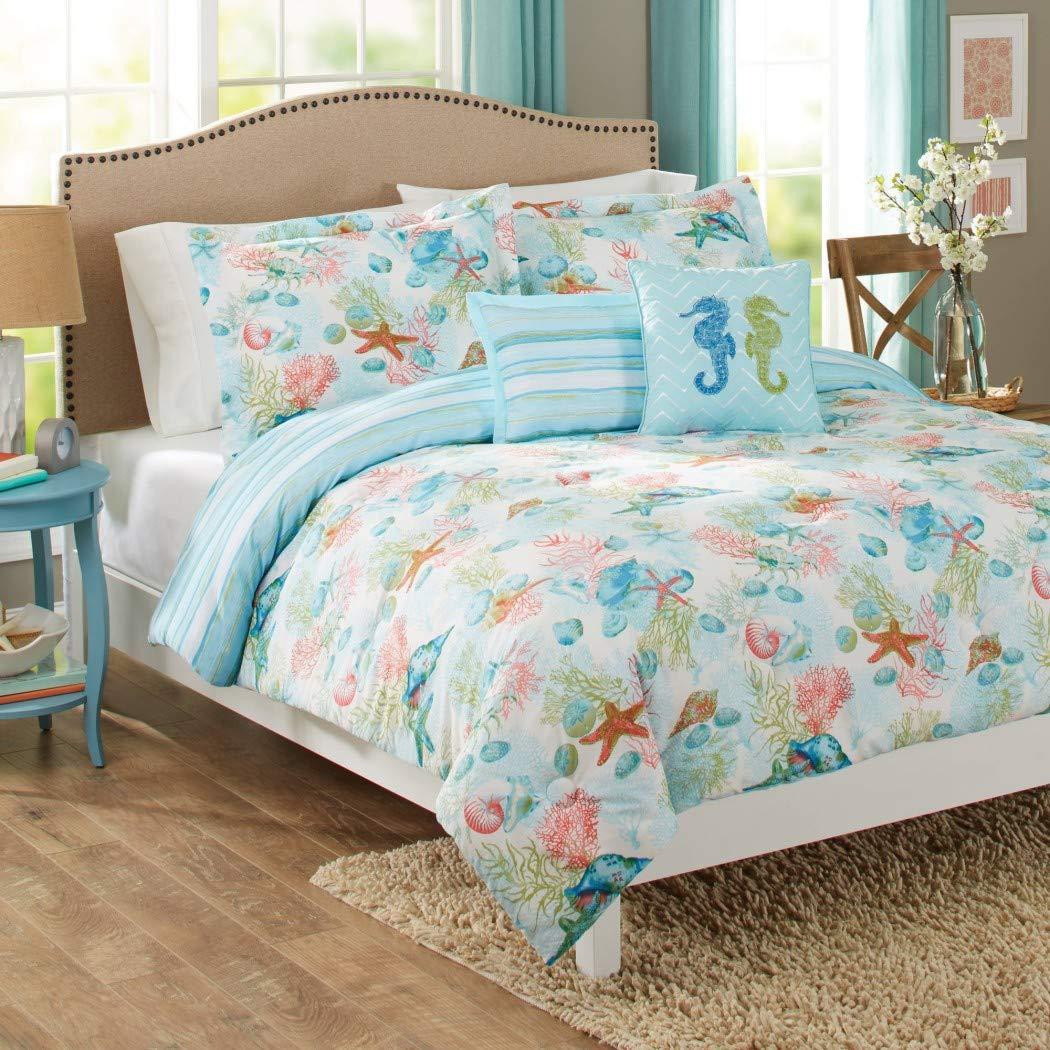 5 Piece Blue Multi Sealife Ocean Animals Themed Comforter Full Queen Set
