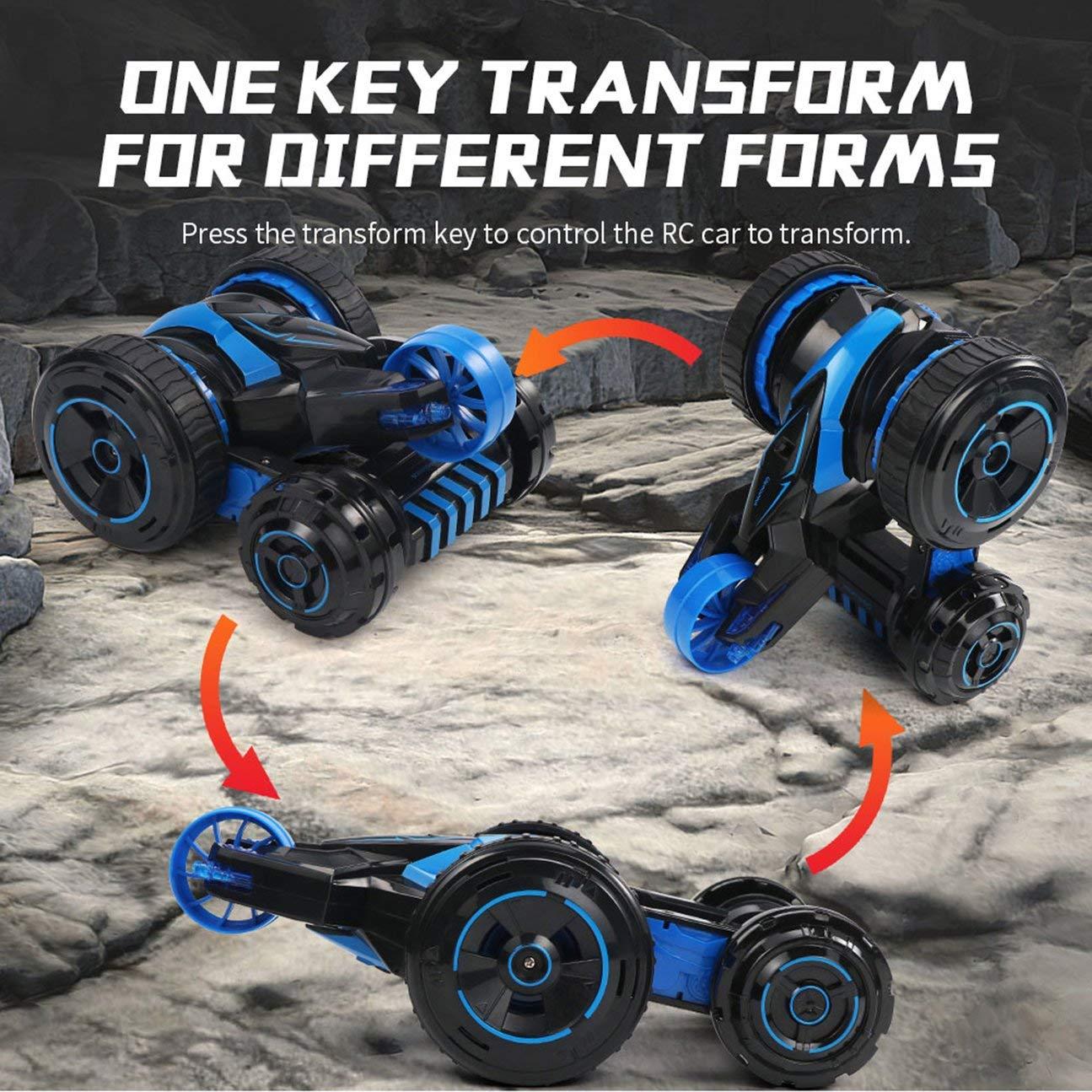 MachinYeser JJRC Q49 ACRO 360 ° Rotación Sistema de Llave Cinco Ruedas Una Llave de Transformar 2.4G Control Remoto Stunt Car para Niños Juguetes Regalos de cumpleaños Azul c4f9b5