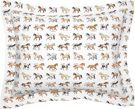 Amazon Com Roostery Pillow Sham Horses Equestrian Riding Show Animals Gallop Horse Pony Palomino Dapple Grey Animal Print 100 Cotton Sateen 30in X 30in Flange Sham Home Kitchen