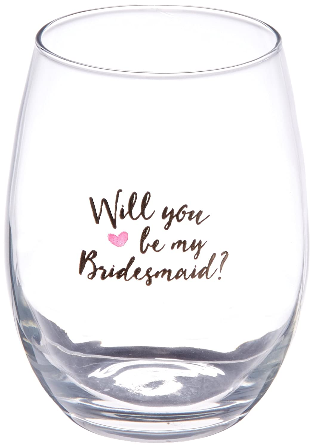 5e6042ce514 Amazon.com: Kate Aspen Will You Be My Bridesmaid Pink Heart Stemless Wine  Glass (Set of 4) 15 Oz.: Home & Kitchen