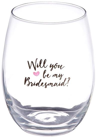 a5a7f2c5e01 Amazon.com: Kate Aspen Will You Be My Bridesmaid Pink Heart Stemless ...