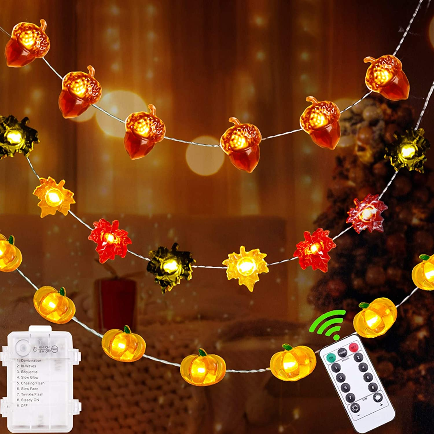 Fall Decor Thanksgiving Decorations Lighted Fall Garland,90 LED Set of 3 Acorn 3D Pumpkin Maple Leaf String Lights Battery Operated with Remote Control for Autumn Fall Harvest Thanksgiving Decor