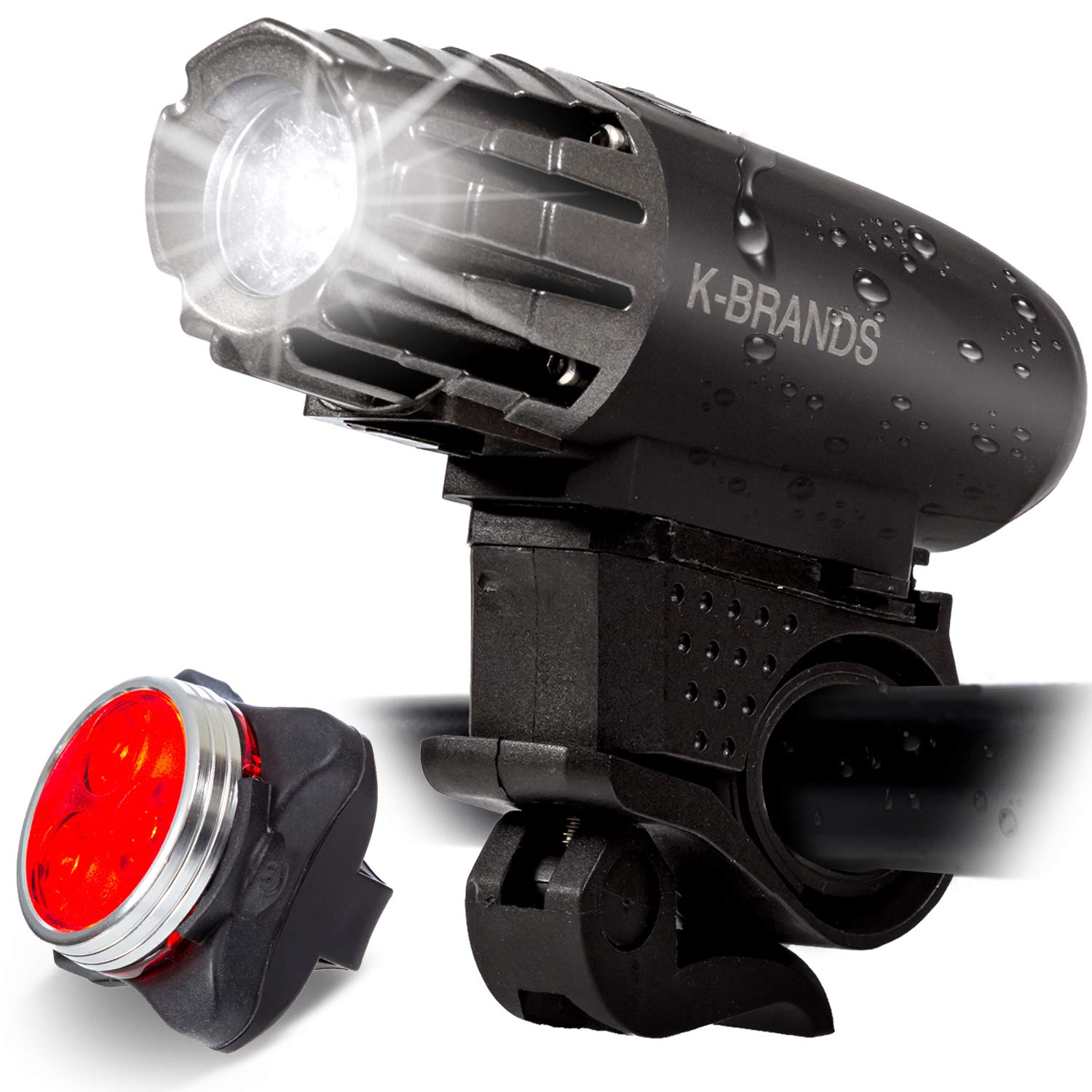 K-Brands Bike Light Set – USB Rechargeable Front and Back LED Headlight Tail Light – Bright Bicycle Flashlight Best Road Safety Lighting for Night Cycling – Fits All Bikes