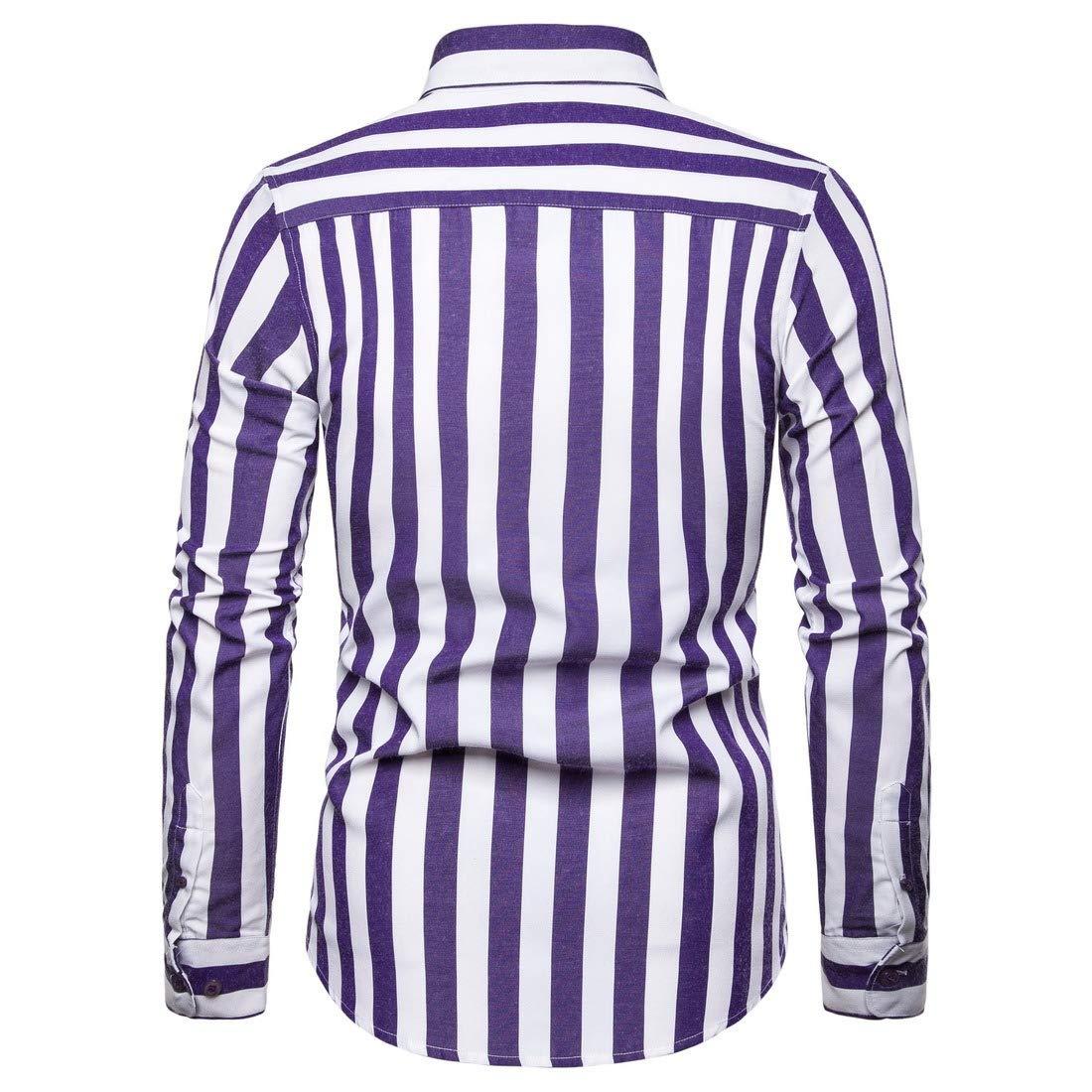 HEFASDM Mens Button-Front Fine Cotton Stripes Business Leisure Shirts