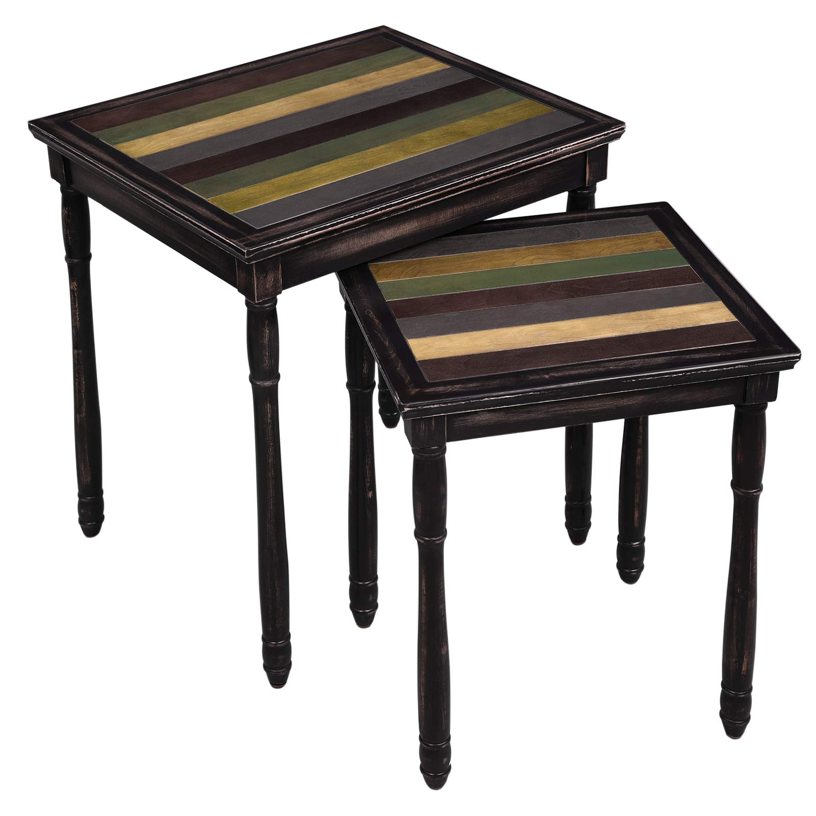 VASAGLE Nesting End Tables with Colorful Storage Tabletop, Pair of 2 Coffee Tables with Solid Wood Legs, Assembly Without Tools, Side Table for Living Room, Country Brown ULNT01GL by VASAGLE