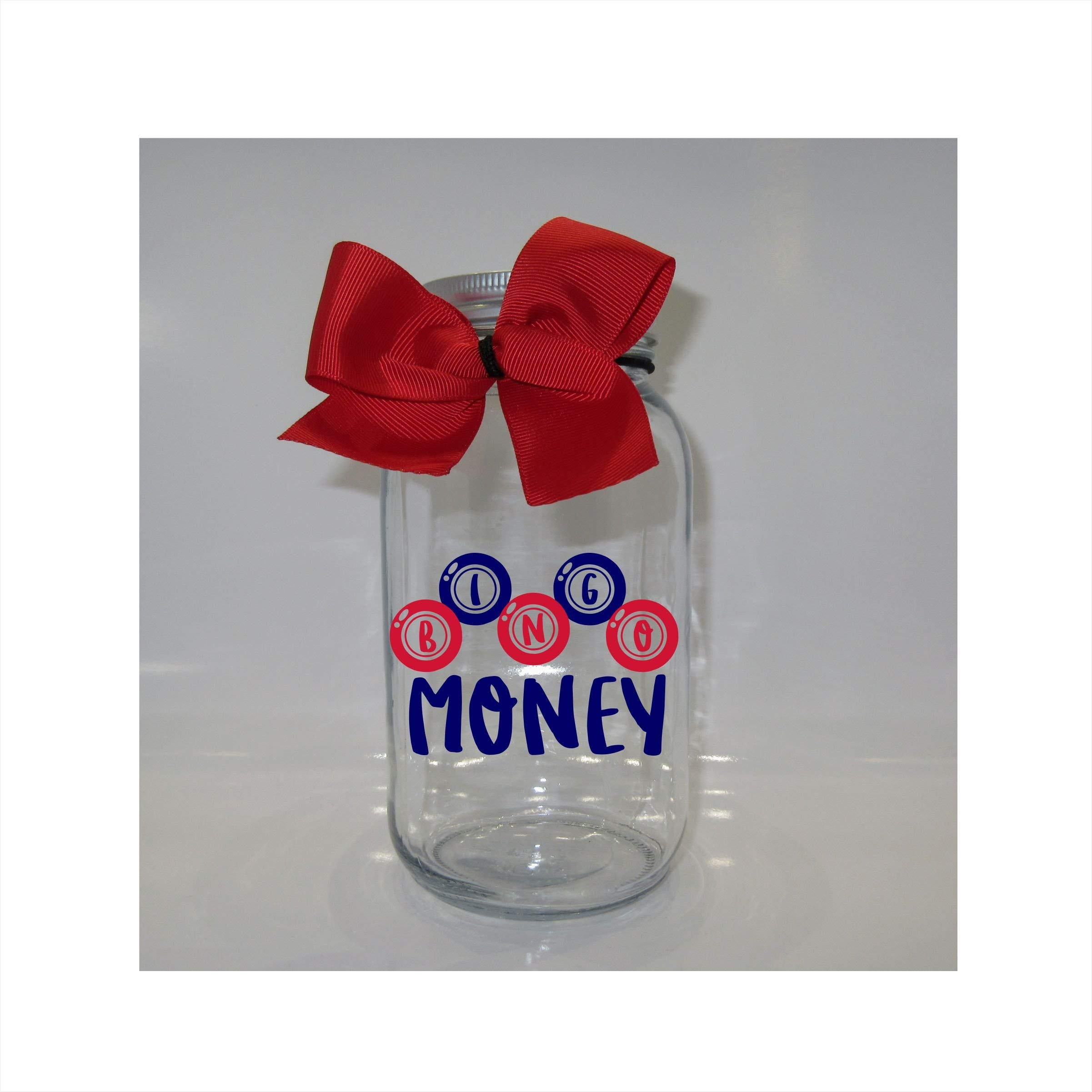 Bingo Money Mason Jar Bank - Coin Slot Lid - Available in 3 Sizes