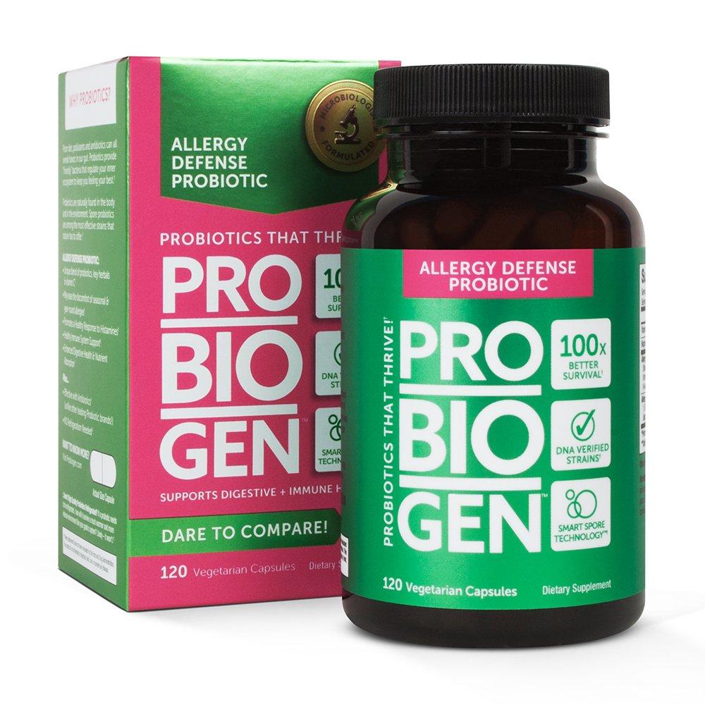 PROBIOGEN Allergy Defense Probiotic: Smart Spore Technology, DNA Verified, 100X Better Survivability, 120 count