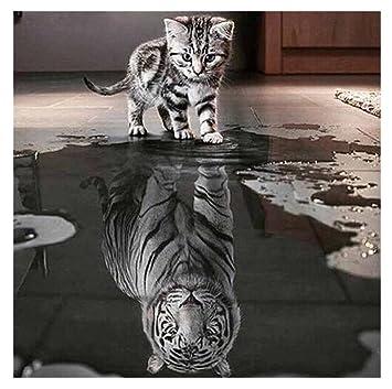 [Yistu Gato Y Tigre DIY 5D Diamante Pintura De Bordado] Punto De Cruz DecoracióN Del Hogar ArtesaníA