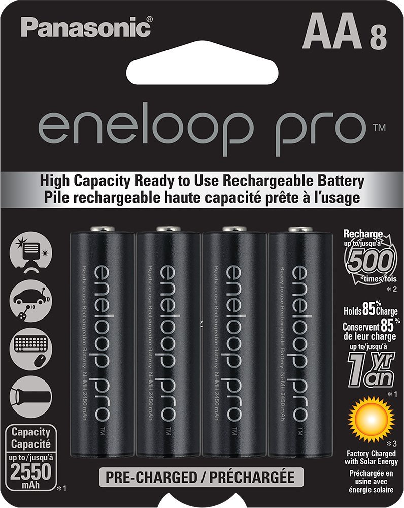 Panasonic BK-3HCCA8BA eneloop pro AA High Capacity Ni-MH Pre-Charged Rechargeable Batteries, 8 Pack (Renewed)