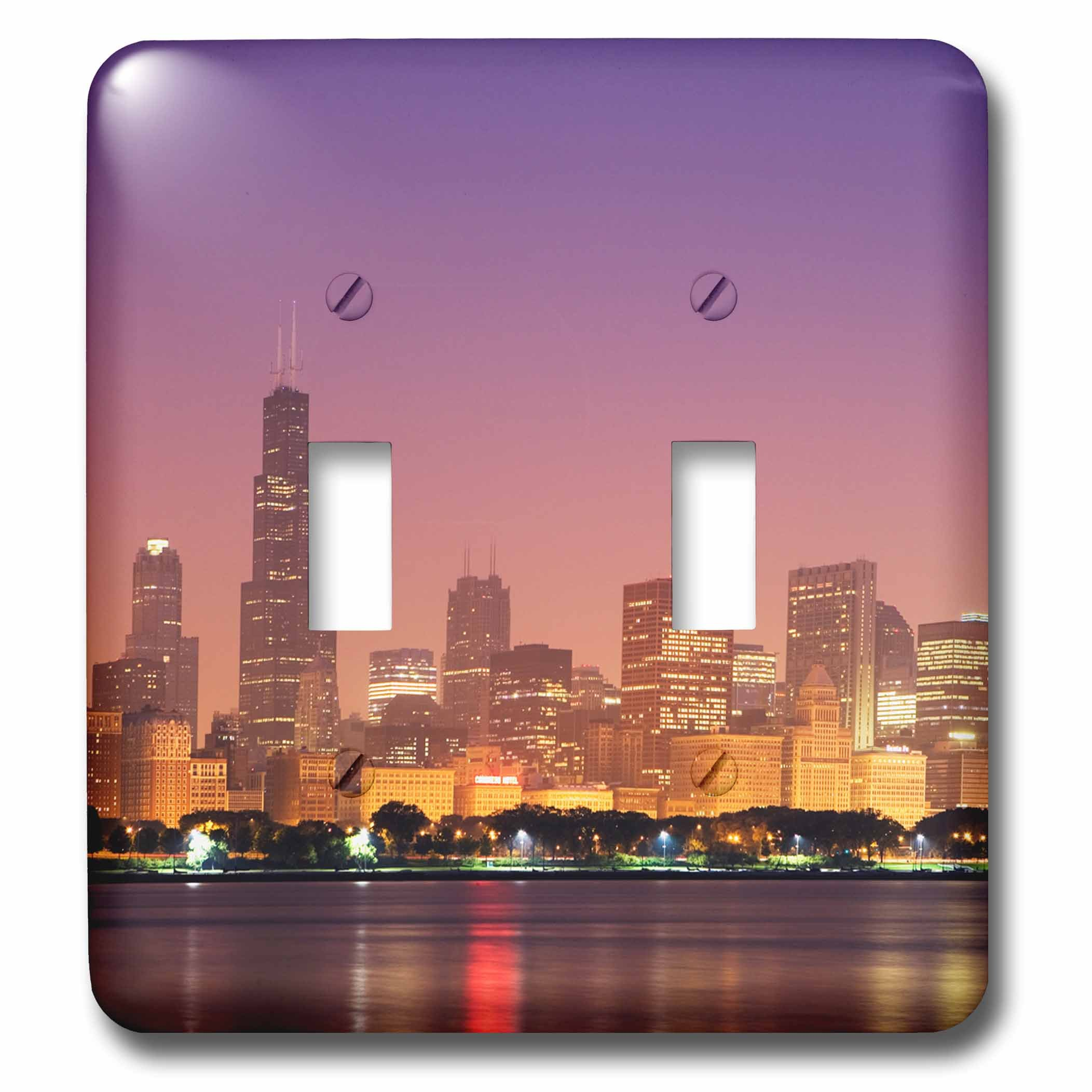 3dRose lsp_278977_2 USA, Illinois, Chicago. Sunrise Skyline and Lake Michigan Toggle Switch, Multicolor