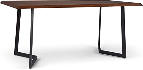 Simpli Home Watkins SOLID MANGO WOOD and Mango Wood 72 inch x 36 inch Rectangle Industrial Contemporary Dining Table with Inverted Metal Base in Dark Brown