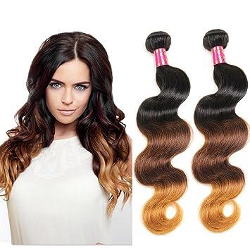 66f623f49 Amazon.com : Lolly Hair 4 Bundles Ombre Brazilian Body Wave Virgin Hair in  T1B/4/27 Color (10 10 10 10) : Beauty
