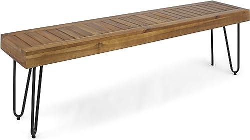 Christopher Knight Home 304879 Abbet Outdoor Industrial Wood Bench, Teak Black Metal