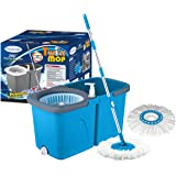 Primeway Magic Spin Mop and Twin Bucket for 360 Degree Rotating Cleaning with 2 Microfibre Mop Heads, Blue, 6 LTR.