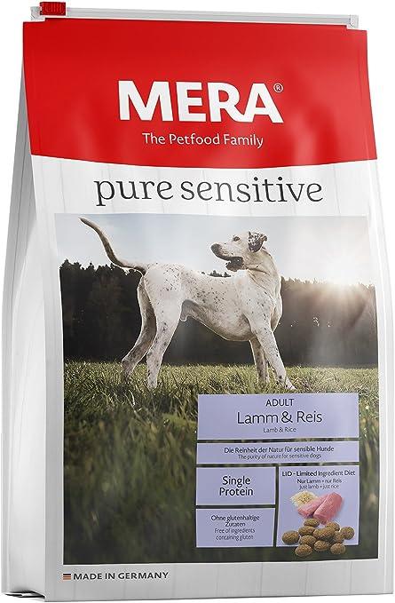 Mera Comida para Perros Pure Sensitive Cordero y arroz, 12,5 kg