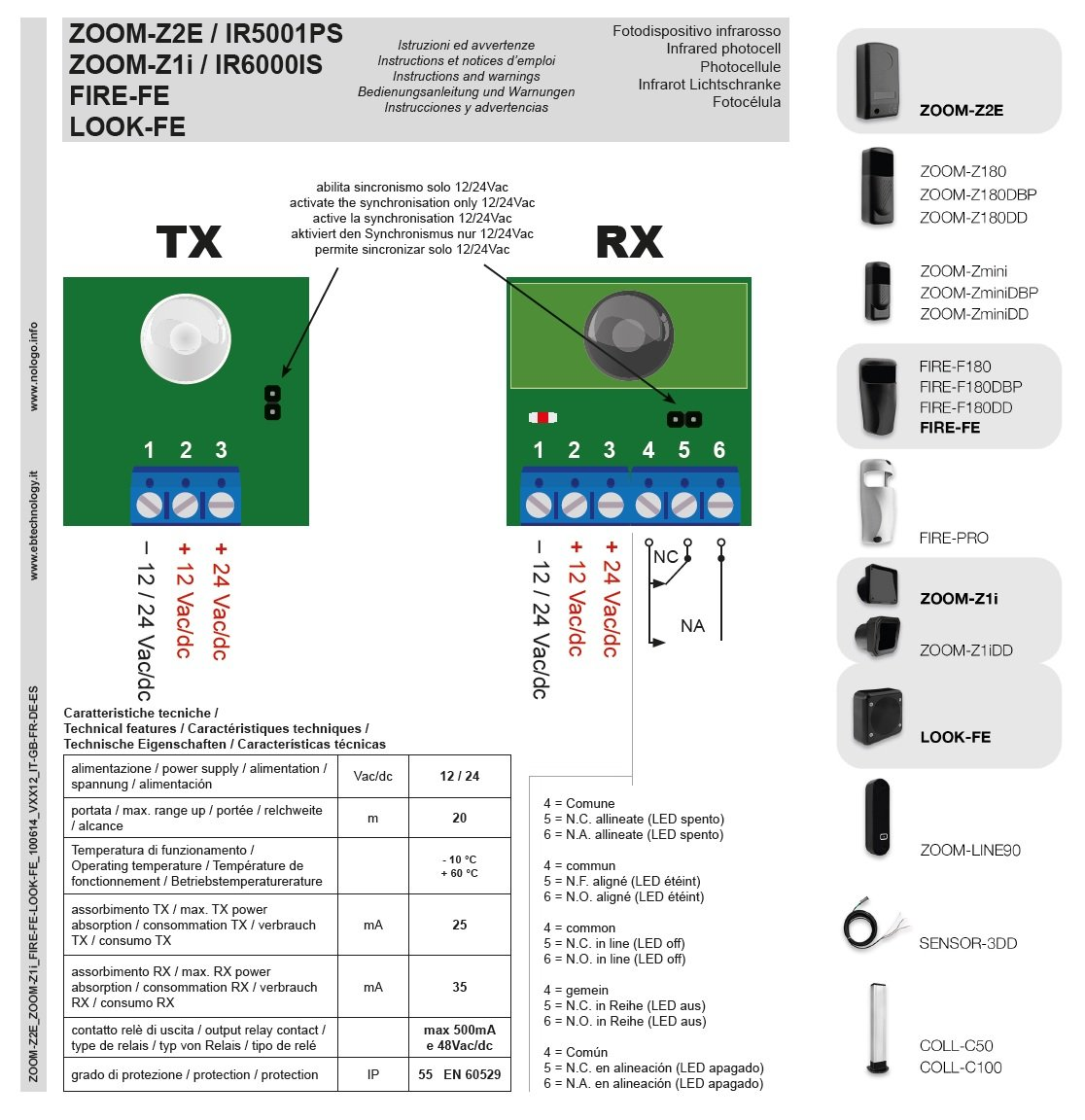 f/ür elektrisch betriebenen Garagentore und Tore 1 Paar Sender und Empf/änger Kabelgebunden Reichweite bis zu 20 m Z2E Lichtschranke