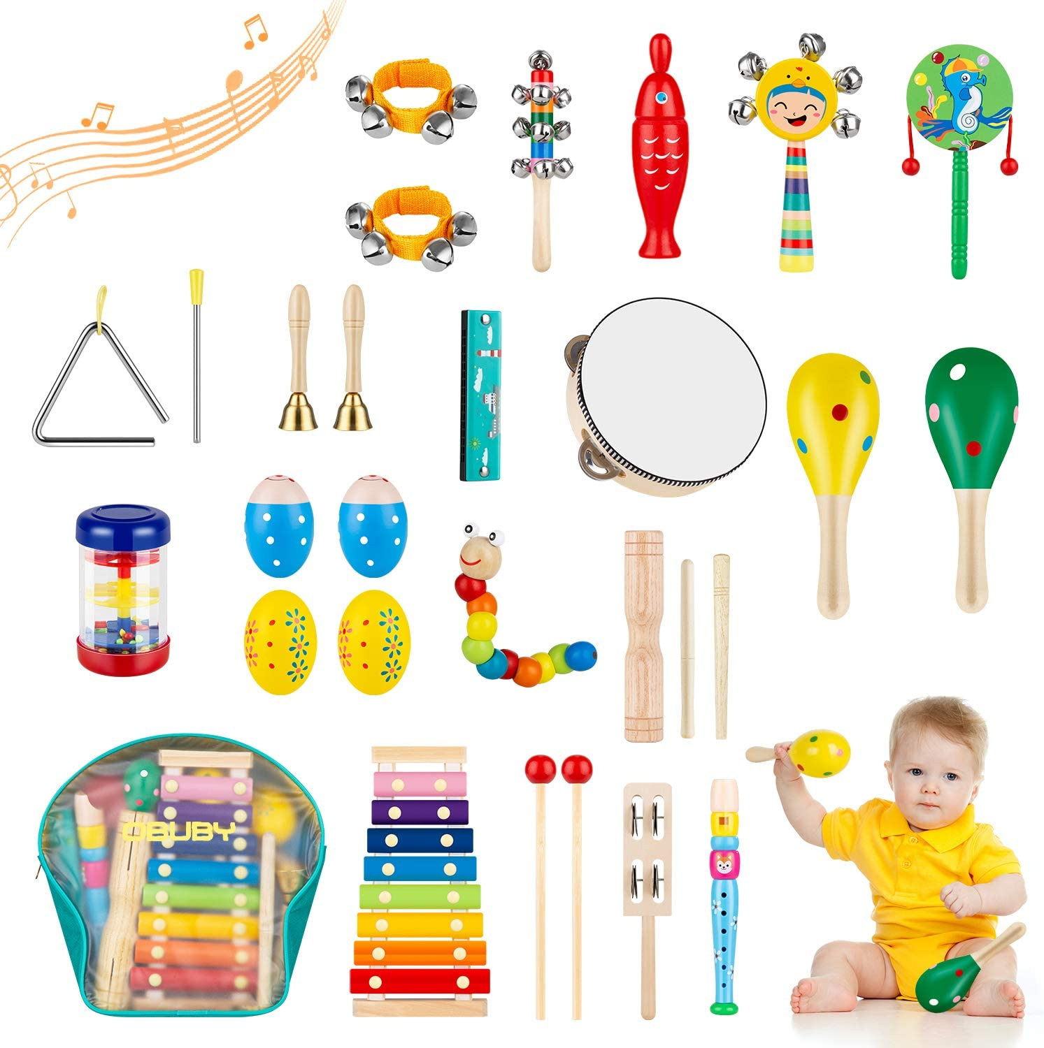 Obuby Toddler Musical Instruments Sets Wooden Percussion Instruments Toy for Kids Preschool Educational Wood Toys with Storage Bag for Kid Baby Babies Children Boys and Girls: Toys & Games